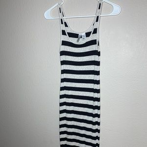 Gray and beige striped dress